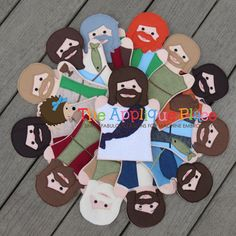 Set of Jesus and his 12 disciples 13 Hand and Finger Puppets In The Hoop Machine Embroidery Applique Designs