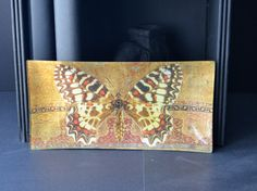 Oriental Butterfly Decoupage Plate brown by InsituDecorativeArts
