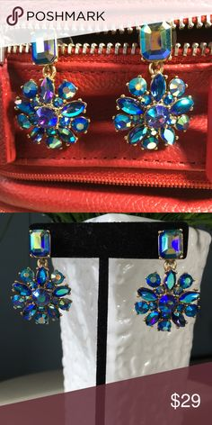 J CREW EARRINGS  NWT BEAUTIFUL J CREW EARRINGS..... THESE ARE SHAPED LIKE A FLOWER IN AN IRIDESCENT BLUE COLOR SET IN A GOLD TONE SETTING they are about the size of a quarterprice firm J. Crew Jewelry Earrings