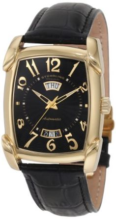 Stuhrling Original Men's 98.33351 Classic Metropolis Madison Avenue Campaign Automatic Day And Date Gold Tone Black Leather Strap Watch >>> Learn more by visiting the image link.