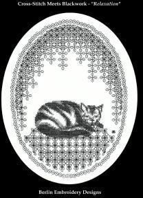 Berlin Embroidery Designs Relaxation (Blackwork) - Cross Stitch Pattern. This cross-stitch meets blackwork design can be worked on any count fabric with one col