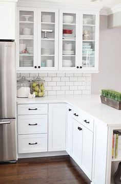 white cabinets and subway tile