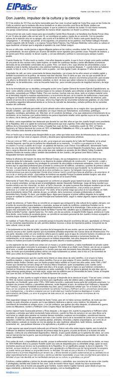 """""""Don Juanito, impulsor de la cultura y la ciencia"""" un artículo publicado en la edición del 10 de febrero de 2014 del diario """"El País"""" ~ """"Don Juanito, impulsor de la cultura y la ciencia"""" an article published in the 10 February 2014 issue of the daily newspaper """"El País""""."""