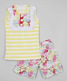 Yellow Bib Top & Floral Shorts - Infant, Toddler & Girls #zulily #zulilyfinds