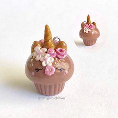 Brown floral unicorn cupcake DIY charm!