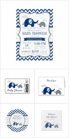 Elephant Navy Blue Gray Baby Shower