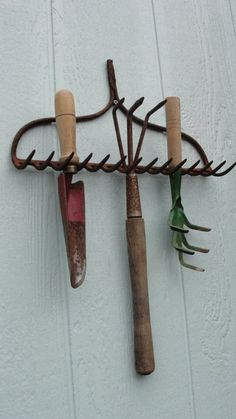 """Vintage Rustic Garden Hand Tools Organizer by bluebonnetfields, $38.00 OR Free from your grandparents """"junk"""" pile"""