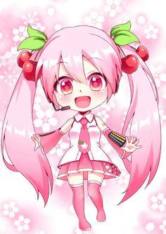 『VOCALOID』~ ❀sᴀᴋᴜʀᴀ ᴍɪᴋᴜ❀ 🌸 Kawaii Neko Girl, Chibi Kawaii, Chibi Girl, Cute Anime Chibi, Manga Anime, Anime Art, Chibi Characters, Cute Kawaii Drawings, Anime Angel