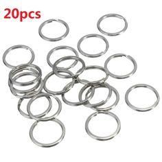 20pcs fracción dominante del anillo de plata brillante brillante acero chapado de níquel ronda de bucle aro