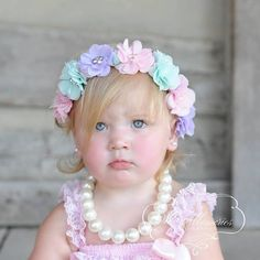 ideas for vintage wedding jewelry pearls flower Flower Headband Wedding, Fabric Flower Headbands, Flower Crown Headband, Flower Crowns, Pastel Flowers, Chiffon Flowers, Felt Flowers, Newborn Baby Girl Headbands, Flower Head Wreaths