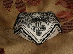 English Tudor Blackwork Small Biscornu Pincushion - Authentic Elizabethan Motifs with Bead Embellishments.. £9.35, via Etsy.