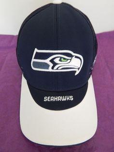 01539ab046ab65 Seattle Seahawks Stretch Cap Hat Adult Blue White Reebok Sideline NFL New  NWOT