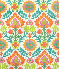 shower curtain fabric: Waverly Santa Maria Sun N Shade Mimosa Fabric Waverly Bedding, Waverly Fabric, Suzani Fabric, Fabric Decor, Curtain Patterns, Fabric Patterns, Carpets For Kids, Orange Fabric, Orange Pink