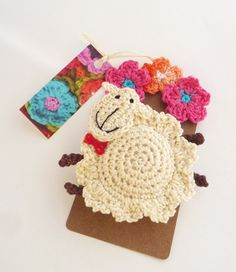 Crochet sheep brooch (ornament)