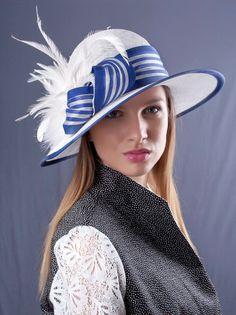 White Royal blue hat, widebrim hat, Summer sun hat, Kentucky derby hat, Wedding…
