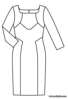 Выкройки платья футляр с длинным рукавом