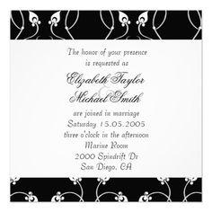 Luxury Black Swirls Damask Wedding Invite