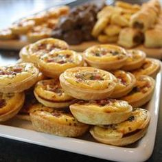 Bacon Quiche Tarts Recipe Breakfast and Brunch with bacon, cream cheese, milk, eggs, shredded swiss cheese, green onions, biscuit dough