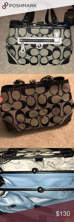 EUC Coach Bag EUC signature authentic Coach bag in grey and black with silver and white accents. This bag has multiple zip and non zip pockets and a center pocket the snaps open and shut like a coin purse. This girl has way too many bags so help me clean my closet :) coach Bags Satchels