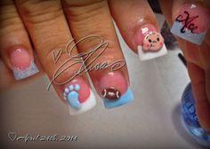 What About Amazing Easy Sewing Projects ? Baby Boy Nails, Baby Nail Art, Baby Shower Nails, Fingernail Designs, Blue Nail Designs, Luv Nails, Nail Candy, Acrylic Nail Art, Hair And Nails