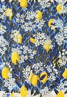 Illustration textile autrichienne : Josef Frank, citrons et fleurs d'oranger, bleu-jaune