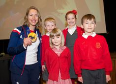 Lizzy with pupils from Riverhead Infants School