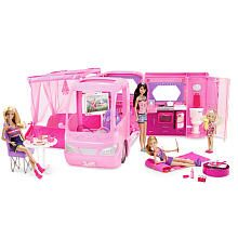 Set out for on-the-road, Barbie-style camping adventures with the Barbie Glamour Camper with Dolls Playset. Revel in the outdoors with a campfire to roast marshmallows, then sleep under the stars in the super-cool sleeping bag and fold-out bed. #Barbie #BarbiesFavoriteThings