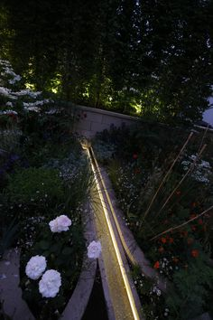 Water rill lighting with LED linear strip is really effective