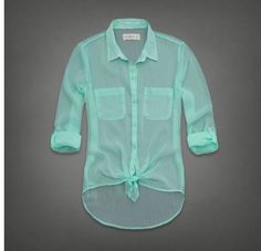 Cute rolled sleeve button up sheer aqua blouse