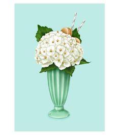 Hokey Pokey Hydrangea Art Print - Available in 3 sizes: x / x x / x x / x Chrysanthemum, Blank Cards, White Envelopes, Hydrangea, Peonies, Glass Vase, Greeting Cards, Art Prints, Paper