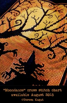 Moondance cross stitch chart will be available this summer. Plenty of time to stitch for Halloween! ©Teresa Kogut #halloween #crossstitch