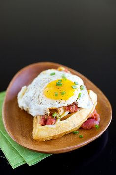 Cornmeal Chive Waffles with Salsa and Eggs http://www.annies-eats.com/2012/02/29/cornmeal-chive-waffles-with-salsa-and-eggs/