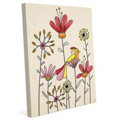 """Click Wall Art Flower Nest Painting Print on Wrapped Canvas Size: 36"""" H x 24"""" W x 1.5"""" D"""