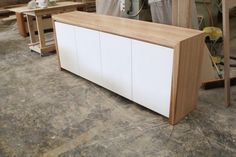 Tassie oak and white poly sideboard buffet