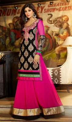 Shilpa Shetty Pink Embroidered Georgette Salwar Suit