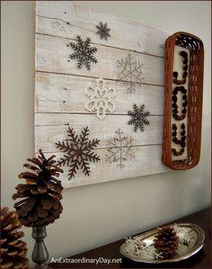 Whitewashed Rustic Wall Vignette : AnExtraordinaryDay.net + she sells Longaberger baskets!