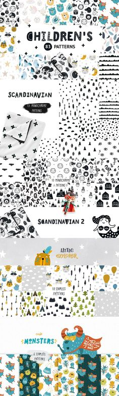 Children patterns Bundle  Super cute bundle of seamless patterns for kids and the whole family! This set is just what you needed for the children's clothing, design wall art, kid's products and room decor. 83 Lovely patterns for girls and boys! #scandinavian #scandinaviandesign  #scandi #pattern #patterndesign #kidsdecor  #textiledesign #kidsroom