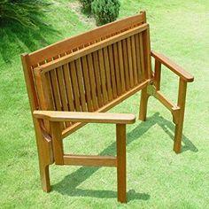 Trueshopping Convenient Folding Foldaway Two Seat Keruing Hardwood Wooden Bench Chair | Garden / Patio Furniture Mahogany Effect 1140mm x 630mm x 900mm