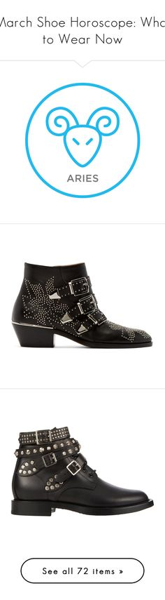 """""""March Shoe Horoscope: What to Wear Now"""" by polyvore-editorial ❤ liked on Polyvore featuring shoes, Horoscope, boots, ankle booties, cuban heel boots, almond toe boots, studded booties, studded boots, zipper boots and botas"""