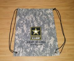 U.S. Army Army Strong Digital Camo Camouflage Cinch Tote Bag Carry Backpack EUC #Unbranded #ToteBag