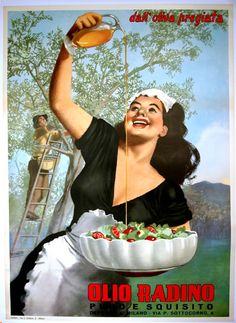 """""""Olio Radino"""" (vintage poster art, woman pouring olive oil) by Gino Boccasile http://www.posterclassics.com/Images-Products-Italian/bigOlioRaidino.jpg #Art #Vintage"""