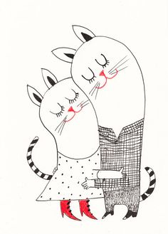 Hugs and Kisses / ORIGINAL ILLUSTRATION / ink drawing / Love / Cute cats
