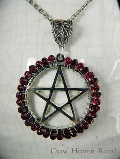 GARNET PENTACLE Necklace by CrowHavenRoad on Etsy