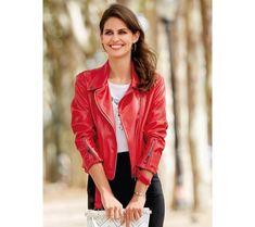 Koženková bunda so zipsami   modino.sk #ModinoSK #modino_sk #modino_style #style #fashion #spring Red Leather, Leather Jacket, Jackets, Spring, Fashion, Zippers, Riders Jacket, Full Sleeves, Fur