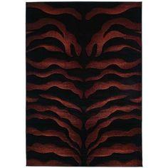 New Modern Area Rugs Carpet Zebra Print Burgundy 8x11