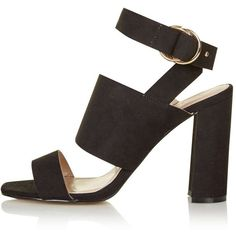 TopShop Monica Block Heel Sandals ($24) ❤ liked on Polyvore featuring shoes, sandals, heels, black high heel sandals, black heeled shoes, topshop shoes, heeled sandals and high heeled footwear