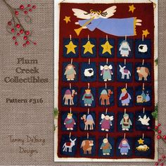 Nativity Advent Calendar Pattern *Wool Felt Applique* with manger scene characters you flip each day; pattern $7.95  (Could use patterns to make ornaments.)