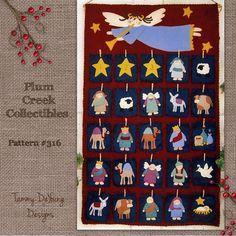 Nativity Advent Calendar Pattern Wool Felt por PlumCreekPatterns