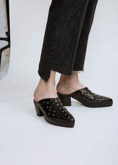 Cuban heel mules with cut out and studded detailing. Leather sole, insole, and lining with rubber sole reinforcement and toe cap. Slippers, Platform, Footwear, Heels, Leather, Black, Fashion, Heel, Moda