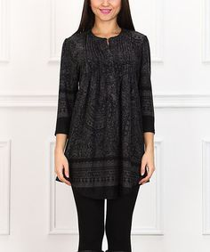 Another great find on #zulily! Charcoal Paisley Notch Neck Tunic #zulilyfinds